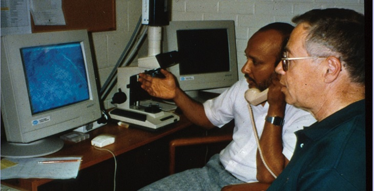 Historic event:  Dr. Achyut Bhattacharyya and Dr. Weinstein, in Tucson,  rendering the first telepathology diagnosis for a patient in China, on October 4, 1993. Starting then, telepathology has evolved into a significant industry in China.
