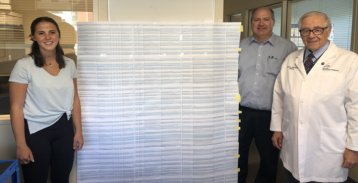 Camryn Payne going over the data she collected with Mike Holcomb, associate director IT and Ronald S. Weinstein, MD, director for the Arizona Telemedicine Program.