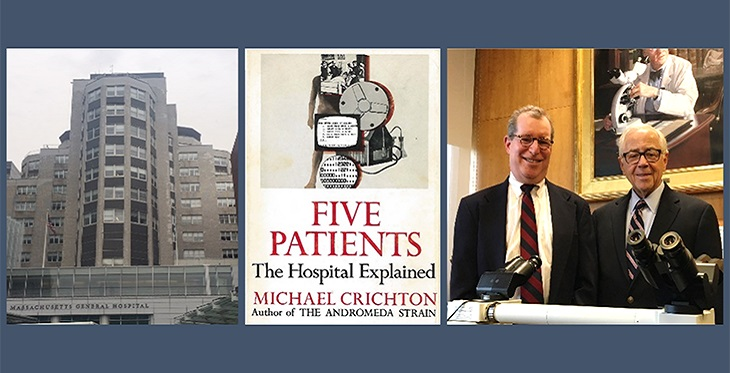 """Left, MGH """"White Building"""" housing the original telemedicine hub. Middle, Crichton's book describing his Harvard Medical School student telemedicine experience. Right, Dr. Weinstein in Boston, recently celebrating the 50th Anniversary of his first telepathology case (then called """"Television Microscopy"""") seen with David N. Louis, MD, Benjamin Castleman Professor of Pathology, HMS and current MGH Pathologist-in-Chief (left), in the MGH Pathology Department Library, on April 27, 2018."""