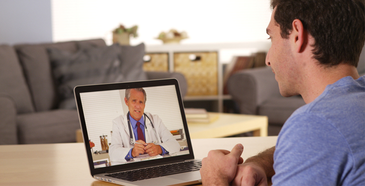 Patient meeting with doctor via telemedicine